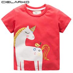 Girls Unicorn T Shirt Short Sleeve Kids T-Shirts Baby Clothes Design Cartoon Tops Tees for Summer pink 2t