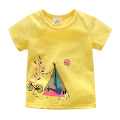 Kids T Shirt Short Sleeve Unisex Tops Tees Boys Casual Summer Girls Clothing Cotton Outfit yellow 3t cotton