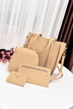 20019 Explosion Promotion, Low Price Buy, Red Four-piece Inclined Span Handbag coffee ordinary