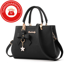 TQDS 2019 elegant shoulder, luxurious, plum bow, sweet messenger messenger bag black ordinary