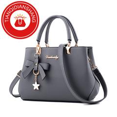 TQDS 2019 elegant shoulder, luxurious, plum bow, sweet messenger messenger bag grey ordinary