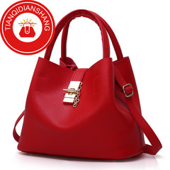 TQDS 2019 hot sale, Pu patent leather, one shoulder, crossbody, high quality lady handbag red ordinary