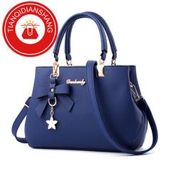 TQDS 2019 elegant shoulder, luxurious, plum bow, sweet messenger messenger bag blue ordinary