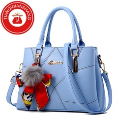 TQDS 2019 new hair ball handbag scarf bag quality bag ladies shoulder Messenger bag light blue ordinary