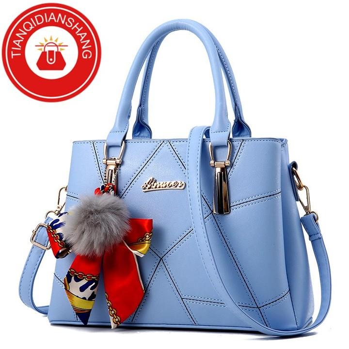 TQDS 2019 new hair ball handbag scarf bag quality bag ladies shoulder Messenger bag light blue ordinary