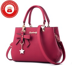 TQDS 2019 elegant shoulder, luxurious, plum bow, sweet messenger messenger bag Red wine ordinary