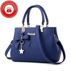 TQDS 2019 elegant shoulder, luxurious, plum bow, sweet messenger messenger bag blue ordinary