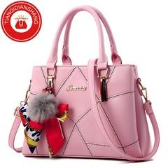 TQDS 2019 new hair ball handbag scarf bag quality bag ladies shoulder Messenger bag pink general