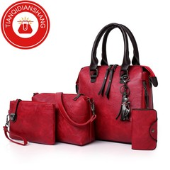 TQDS new 4 piece / ladies composite bag high quality ladies, PU leather shoulder messenger bag red ordinary