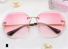 New ocean Lens Sunglasses trendy glasses trimmed Sunglasses ladies rimless metal sunglasses pink one size