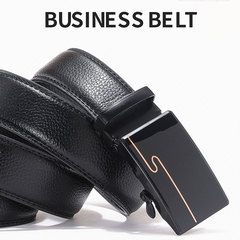 Automatic Buckle Cowhide Leather Men Belt Business Style Belts for Men High Quality Black 001 110-120cm
