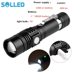 Highlight Handy Powerful Alloy Flashlight Power Tips Aluminum Mini Flashlight Rechargeable Black One size