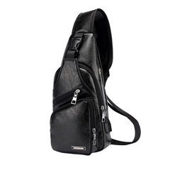 Men Crossbody Bags Messenger Leather Shoulder Bags Chest Bag USB With Headphone Hole Back Pack Black one size