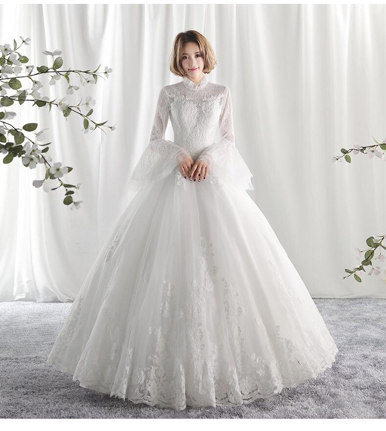 2019 New Bride Korean Sexy Back Wedding Dress Long Sleeve Elegant