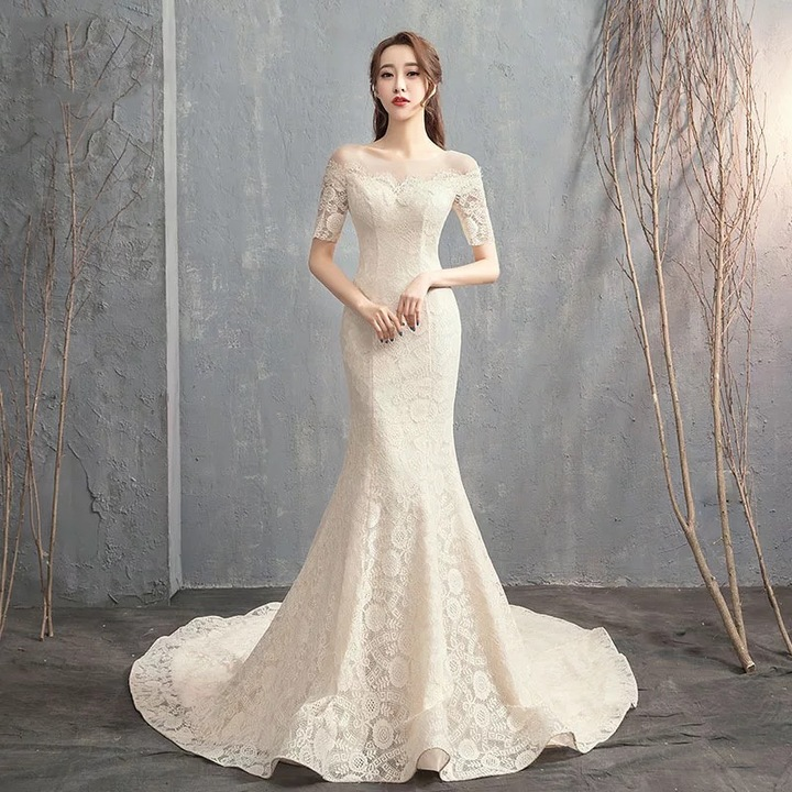 2019 New Bride Long Tailed Korean Wedding Dress Tied Fishtail