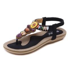 148A5 Strong Zinc 2019 Korean Fashion Womens Sandals Bohemian Flat Bottom Beaded Large Size Sandals