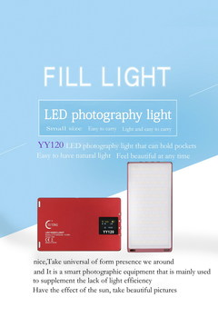 Mini LED Video Light OLED Screen Magnetic 96 Dimmable LED Photographic Studio Fill Lighting red as show