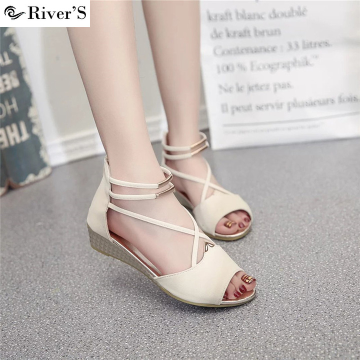 c99a1943d8bf0 RIVER'S fashion sandals Shoes footwear sandals Women's summer shoes  Gladiator Casual Ladies Shoes white 35