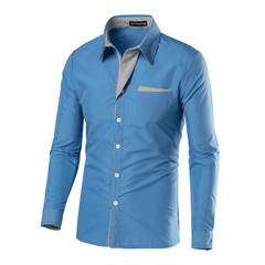 AFS Mens Cotton Shirt Casual Dress Good Price High Quality Sky Blue l