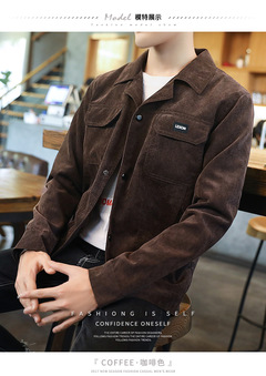 AFS 2019 Mens New Spring and Autumn Training Casual Corduroy Jackets High Quality Coffee m