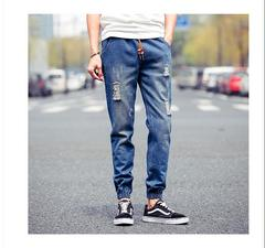 AFS NEW ARRIVAL MEN'S JEANS FASHION HOLE IN THE KNEE PENCIL PANTS TROUSERS Dark blue S