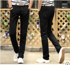AFS MENS SOLID COLOR COTTON SLOM STRAIGHT CASUAL PANTS FASHION BUSINESS PANTS TROUSERS black 28