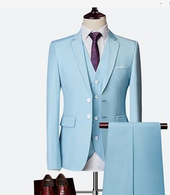 AFS 3PCS MEN'S SUIT FOR BUSINESS WEDDING GOOD BLAZERS HIGH QUALITY Light blue m
