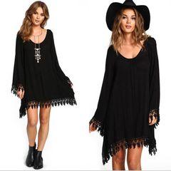 Fashion ladies dress Long Sleeve Dress  skirt Women Casual black hippy Print Dress black 5xl