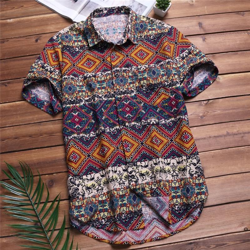 373a262a547 Mens Beach Hawaiian Shirt Tropical Summer Short Sleeve Shirt Men Brand  Casual Loose Cotton Shirts red xxl  Product No  9954565. Item specifics   Brand