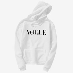 VOGUE logo Fleece hoodie for men and women with long sleeves warm comfortable fashion white s