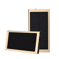Solar Mobile Power Supply for Tuhaojin Aluminum Alloy Ultra-thin Polymer Lithium Battery Luxury gold color 20000 Ma