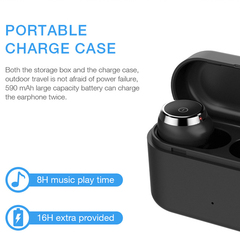 Bluetooth true wireless headset with charging case, v5.0 earphone, mini and portable headphone, IPX5 White Normal