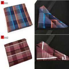 3/6 packs Men's Grid pattern Handkerchief set Square Towel for Suit in Wedding,Party,Business 3pcs Random Colors 25*25cm