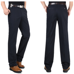 Men's Classical Pant&Trousers Khaki Work To Weekend Plain Front Pant for party/Business men Clothes Dark Blue 29