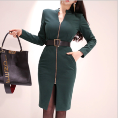Women's Vintage Sleeve Belt Business Pencil Coats,Ladies Office Skirts,Suits Long Sleeve Jackets As Pictures S