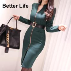 Ladies Vintage Sleeve Belt Business Pencil Dresses,Women's Office Skirts,Party Jumpsuits&Suits S As pictures