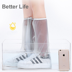 High tube Waterproof Rain Boots Shoes Covers,long tube rainproof non-slip wear-resistant for rainy White S