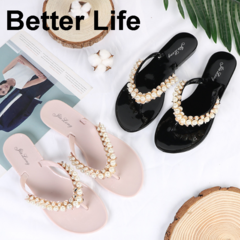 Women's Pearl T-Strap Slippers non-slip Flat flip flops Fashion Sandals Beach Wedding Ladies Shoes Pink 41
