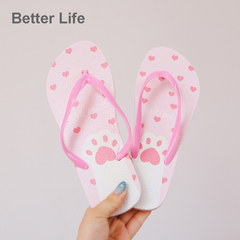 Cute Cat Fashion Beach Soft Flip Flops non-slip Women's Shoes, Girl's Home slippers with quality Pink 37