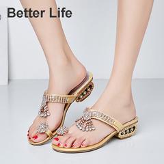 Fashion Rhinestone Metal Heel Sandals,soft&comfort flip flops for office slippers women's shoes Golden 34