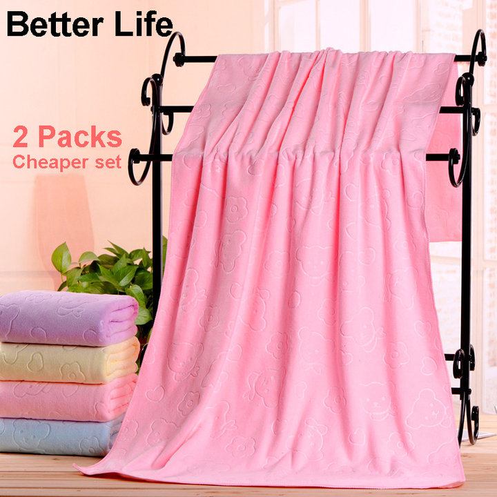 2pcs/set Superfine Cheap Bathing Towels Set fast drying bathroom Bath Towels body towels for family Pink 70*140CM