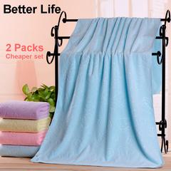 2pcs Fiber Soft Bathing Towels Cheaper set for Hotel&Home Bathroom big size Family Towels 70*140cm Blue 70*140cm