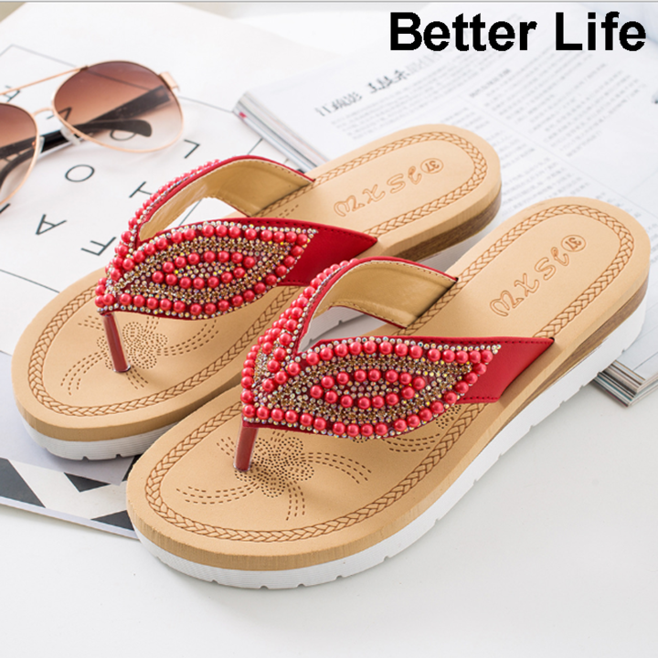 Women Bohemian Flat Sandals Shoes Summer Beach T Strap Thong Shoes Ladies Strappy Flip Flops Sandals Red 36