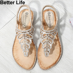 Fashion Bohemian leaf rhinestone sandals ladies beaded slippers beach toe wedge shoes espadrilles Golden 36