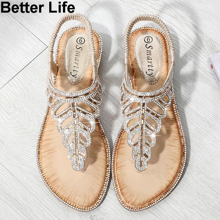 Fashion Bohemian leaf rhinestone sandals ladies beaded slippers beach toe wedge shoes espadrilles Golden 36