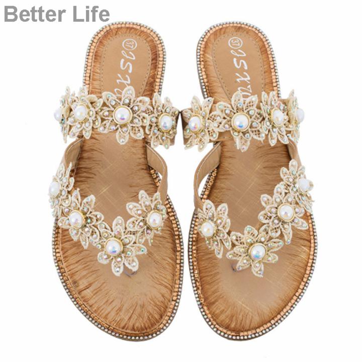 Women Summer Sandals Ladies Comfort Bohemia Sweet Beaded Sandals Clip Toe Flip Flops Beach Shoes Apricot 42