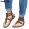 Mother's Gift Thong Flat Sandals Gladiator Buckle Strap Cork Sole Summer Flip Flops Mother's Shoes 3-Brown 44