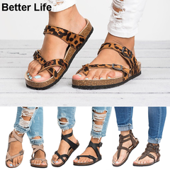 Mother's Gift Thong Flat Sandals Gladiator Buckle Strap Cork Sole Summer Flip Flops Mother's Shoes 1-Leopard 39