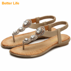 2019 New Big Diamond T Maasai Sandals Women's Open Shoes Fashion Beach Flip Flops Quality Slippers Apricot 36