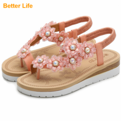 Ladies Fashion Pearl Flower Soft Sandals Hot Sale Women's Open Shoes Beach Party Flip Flops Slippers Pink 36